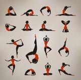 Yoga. Tappningsymboler Royaltyfria Bilder