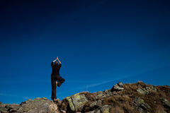 Yoga in Tatry mountains Royalty Free Stock Photo