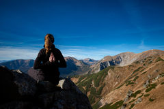 Yoga in Tatry mountains Stock Images