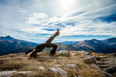 Yoga in Tatry mountains Stock Photos