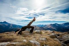 Yoga in Tatry mountains Stock Photos