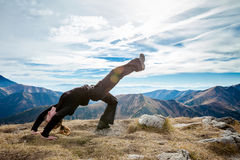 Yoga in Tatry mountains Royalty Free Stock Photos