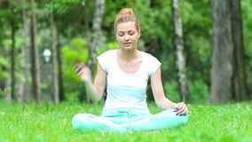 Yoga after a telephone conversation stock footage