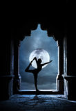 Yoga in temple at night Royalty Free Stock Photos