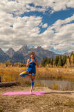 Yoga in the Tetons in Fall Stock Images