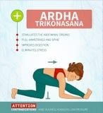 Yoga. Therapy.  infographics. Ardha Trikonasana (Hatha Stock Photos