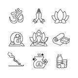 Yoga thin line art icons set. Modern black symbols isolated on white for infographics or web use Royalty Free Stock Photos
