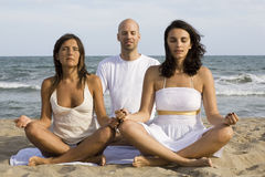Yoga by three Stock Image