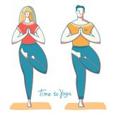 Yoga time. Woman and man doing yoga .Vector illustration healthy lifestyle royalty free stock images