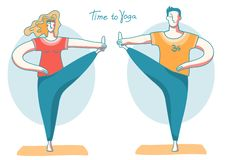Yoga time. Woman and man doing yoga on sport mats .Vector illustration isolated on white stock photography