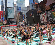 Yoga At Times Square Royalty Free Stock Images