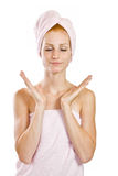 Yoga in towel Stock Images