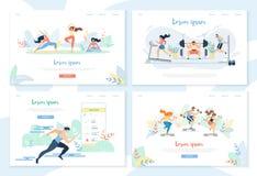 Yoga, trainierend in der Turnhalle, laufender Sprinter-Abstand lizenzfreie abbildung
