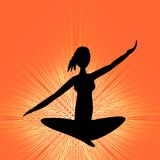 Yoga training banner with black girl silhouette in lotus position on orange background with rays. Vector EPS 10 Stock Photo