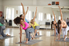 Yoga training in course Royalty Free Stock Image