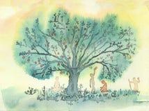 Yoga Tree. The Yoga Tree, fantasy watercolor illustration Royalty Free Stock Photography