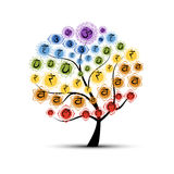 Yoga tree with chakras, sketch foy your design Royalty Free Stock Photography