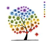 Yoga tree with chakras, sketch foy your design Royalty Free Stock Photos