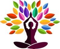 Yoga tree logo royalty free illustration