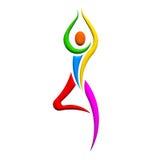 Yoga people tree pose image logo Stock Photos