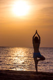 Yoga tree pose Stock Image
