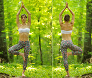 Yoga tree pose by woman on green grass in the park around pine t Stock Photos