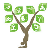 Yoga tree with web icons.. Stock Photos