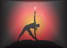 Yoga Triangle Pose Glare Background Stock Photos
