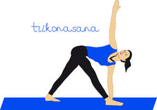 Yoga. Trikonasana. This is Trikonasana or Triangle yoga Pose royalty free illustration