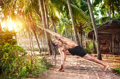Yoga in tropic Stock Photo