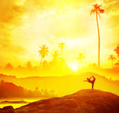 Yoga in tropical India Royalty Free Stock Photography