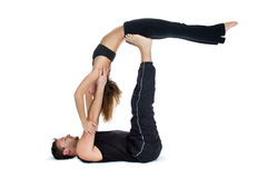 yoga for two  series stock photo image of muscular