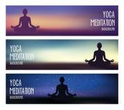 Yoga-und Meditations-Fahnen stock abbildung