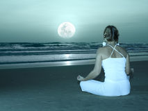 Yoga under moon Royalty Free Stock Photo