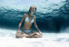Yoga underwater Royalty Free Stock Images