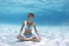 Yoga underwater Royalty Free Stock Photo