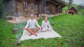 Yoga in urban scenery stock video