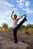 Yoga utomhus Arkivfoto