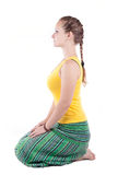 Yoga Vajrasana pose Stock Images