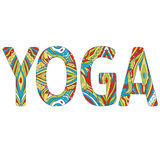 Yoga variopinta dell'iscrizione Illustrazione di yoga di vettore ENV, JPG Fotografia Stock