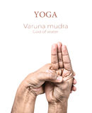 Yoga Varuna mudra. Hands in Varuna mudra by Indian man isolated at white background. Gesture of God of water. Free space for your text Royalty Free Stock Photography