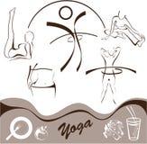 Yoga, vastgesteld pictogram, emblemenvector Stock Foto