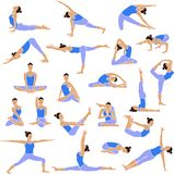 Yoga vastgestelde pictogrammen. Stock Foto