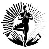 Yoga. Vector illustration in the engraving style Stock Image