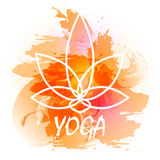 Yoga vector illustration. Vector yoga illustration. Yoga poster with an watercolor orange background Stock Image