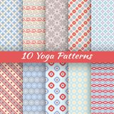 Yoga vector seamless patterns (tiling) Royalty Free Stock Photos