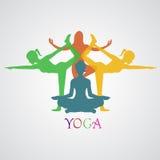 Yoga vektorillustration, app, baner Royaltyfri Bild
