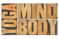 Yoga, Verstand, Körperzusammenfassung stockbild