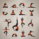 Yoga. Vintage Icons Royalty Free Stock Images