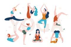 Yoga voor vrouwen met om het even welke vorm De slanke en te zware vrouwen die yoga in verschillend doen stelt vector vlakke geïs stock illustratie